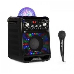 Rockstar LED zestaw do karaoke odtwarzacz CD Bluetooth USB czarny