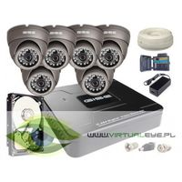 Zestawy monitoringowe, Zestaw AHD, 6x Kamera HD/IR20, Rejestrator 8ch + 1TB