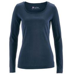 Shirt z okrągłym dekoltem i długim rękawem bonprix ciemnoniebieski