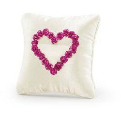 Poduszka pod obrączki ecru z różowymi różyczkami w kształcie serca - 1 szt.