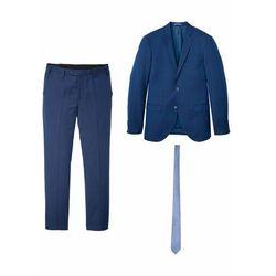 Garnitur 3-częściowy: marynarka + spodnie + krawat, Slim Fit bonprix niebieski