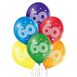 """Balony pastelowe z nadrukiem """"60"""" - 6 szt."""
