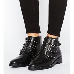 ASOS ASHER Wide Fit Leather Studded Ankle Boots - Black