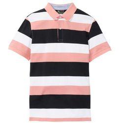 Shirt polo w paski bonprix jasny koralowy - czarno-biały