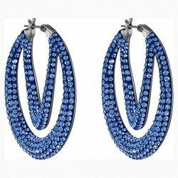 Kolczyki sztyftowe w kształcie koła z kolekcji Tigris, niebieskie, powlekane rutenem