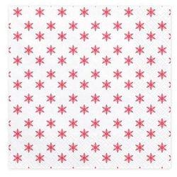 """Serwetki """"Czerwone Śnieżynki"""", białe, PartyDeco, 33 cm, 20 szt"""