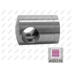 Uchwyt przelotowy złączny AISI316, 40x40x2/d10mm