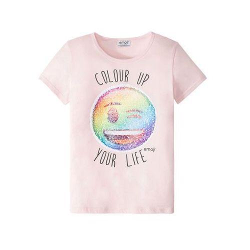 Koszulki z krótkim rękawkiem dziecięce, T-shirt z cekinami dwustronnymi bonprix jasnoróżowy