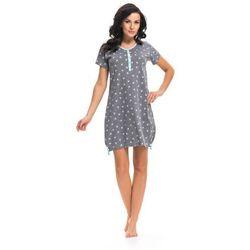Koszula nocna ciążowa i do karmienia TM. 9202 DN - Grey jaskółki z niebieską lamówką