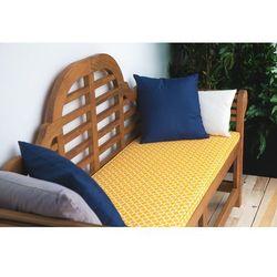 Ławka ogrodowa drewniana 180 cm poducha w żółtym wzorze JAVA Marlboro