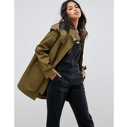 ASOS Parka with Funnel Neck and Buckles - Green