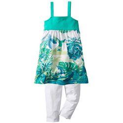 Sukienka + legginsy 3/4 (2 części) bonprix zielono-turkusowy