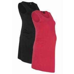 Sukienka shirtowa ciążowa (2 szt. w opak.) bonprix czarny + ciemnoczerwony