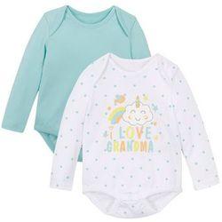 Body niemowlęce z długim rękawem (2 szt.), bawełna organiczna bonprix biało-kolorowy