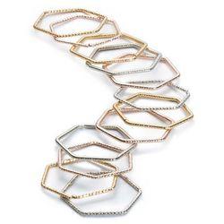Komplet pierścionków (12 części) bonprix złoty kolor + srebrny kolor + kolor czerwonego złota