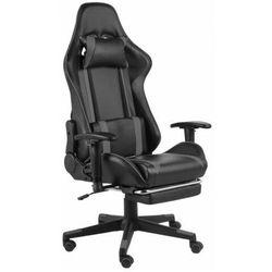 Czarno-szary fotel gamingowy z podnóżkiem - Epic Gamer