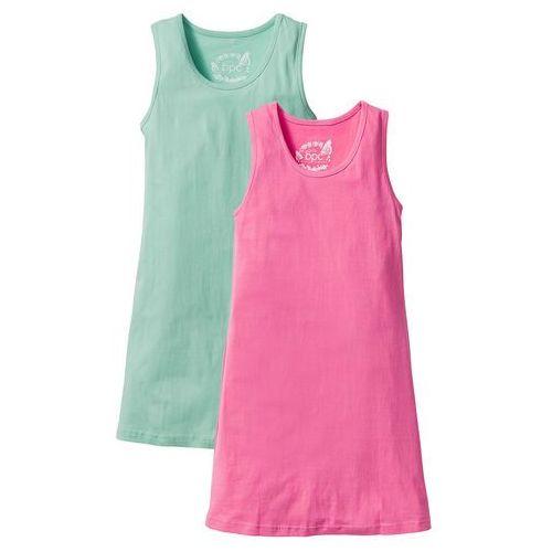 Sukienki dziecięce, Sukienka shirtowa (2 szt. w opak.) bonprix niebieski mentolowy + różowy flaming