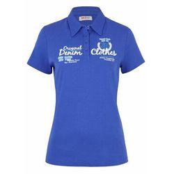 Shirt bawełniany polo z nadrukiem, krótki rękaw bonprix błękit królewski