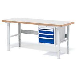 Stół warsztatowy Solid, zestaw z 4 szufladami, 500 kg, 1500x800 mm, laminat
