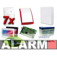 Zestawy alarmowe, Zestaw alarmowy SATEL Integra 32, klawiatura dotykowa, 7 czujek, sygnalizator zewnętrzny