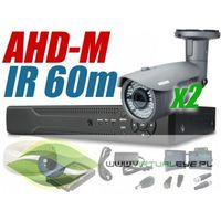 Zestawy monitoringowe, Zestaw CCTV, 2x Kamera HD/IR60, Rejestrator 4k. + 1TB