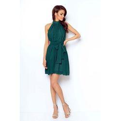 Zielona zwiewna koktajlowa sukienka z dekoltem halter na stójce, Ivon