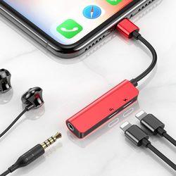 Baseus Audio Converter L52 adapter przejściówka z Lightning na 2x Lightning + mini jack 3.5mm czarno-czerwony (CALL52-91) - Czerwony