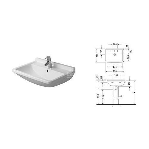 Umywalki, Umywalka 65 x 48,5 cm 1 otwór Duravit Starck 3 030065 00 00