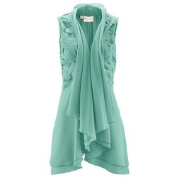 Kamizelka bluzkowa z koronką bonprix zielony szałwiowy