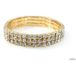 BRANSOLETKA ZŁOTE RZĘDY CYRKONII ślub wesele bal kolor złoty