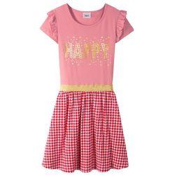 Sukienka z falbanami i cekinami bonprix jasnoróżowo-czerwono-biały