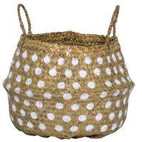 Koszyki, Duży kosz z trawy morskiej w białe kropki - Bloomingville