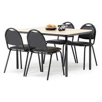 Meble do restauracji i kawiarni, Zestaw mebli do stółówki, stół 1200x800 mm, brzoza + 4 krzesła, skai/czarny