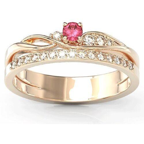 Pierścionki i obrączki, Pierścionek z różowego złota z rubinem i brylantami BP-77P - Różowe \ Rubin