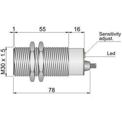 Czujnik pojemnościowy Fi 30 mm SC30SM-C20 NPN NO+NC LC10