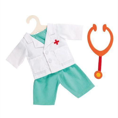 Pozostałe lalki i akcesoria, Heless Strój dla lalki lekarka ze stetoskopem