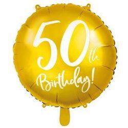 """Balon foliowy """"50 Urodziny 50th Birthday"""", PartyDeco, 18"""" złoty"""