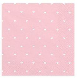 Serwetki urodzinowe różowe w białe serduszka - 33 cm - 20 szt.
