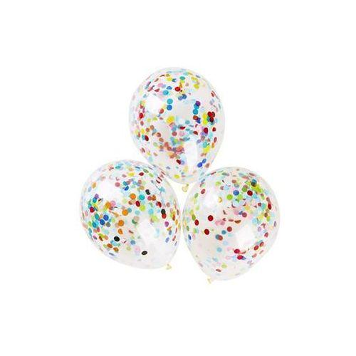 Balony, Balony przezroczyste z konfetti - 32 cm - 5 szt.