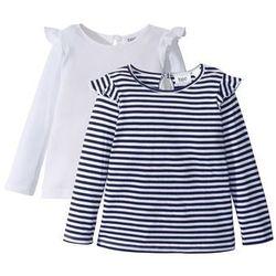 Długa koszulka z falbankami (2 szt.) bonprix czarno-biały w paski + biały