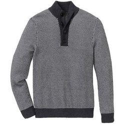 Sweter ze stójką z bawełny z recyclingu bonprix ciemnoszaro-jasnoszary melanż