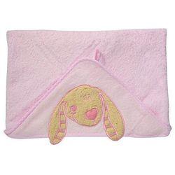 Okrycie kąpielowe z kapturem 76x76 cm BabyOno, różowe z pieskiem - różowy / piesek