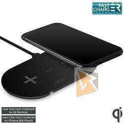 Puro Fast Wireless Dual Dock - Uniwersalna stacja bezprzewodowa z ładowaniem indukcyjnym dwóch urządzeń jednocześnie Qi, 20 W (czarny)