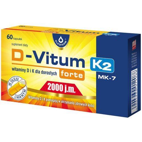 Witaminy i minerały, D-Vitum forte 2000 j.m. K2 MK7 witamina K i D dla dorosłych 60 kaps