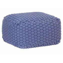 Niebieska kwadratowa pufa bawełniana ręcznie pleciona - Momo