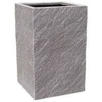 Doniczki i podstawki, Donica kompozytowa Cermax kwadratowa 24 x 24 x 38 cm ciemny grafit