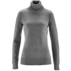 Sweter bawełniany z golfem bonprix szary melanż