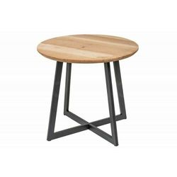 INVICTA stolik nocny VANCOUVER 50 cm -dąb, lite drewno dębowe, metal
