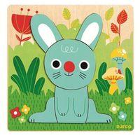 Puzzle, Djeco, Niebieski królik, DJ01490, puzzle drewniane