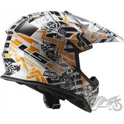 KASK LS2 MX437J FAST MIN GLITCH WHITE/BLACK/ORANGE